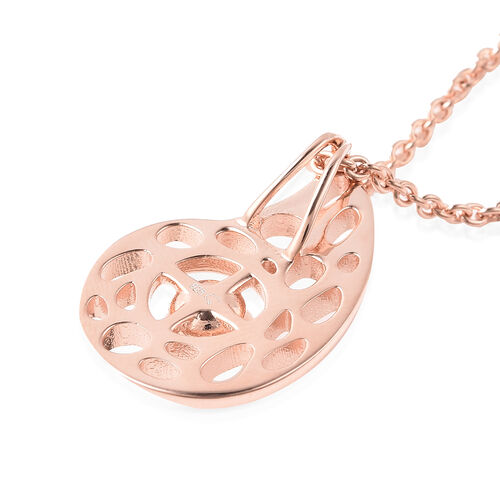 RACHEL GALLEY - Freshwater Pearl Pendant with Chain (Size 30) in Rose Gold Overlay Sterling Silver, Silver wt. 10.80 Gms