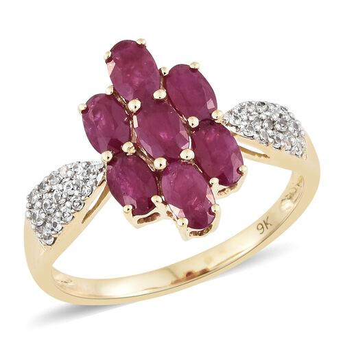 2.25 Ct AA Burmese Ruby and Cambodian Zircon Ring in 9K Gold