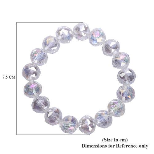 Simulated White Msytic Crystal Stretchable Bracelet (Size 6.75)