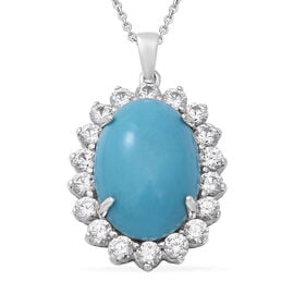 Arizona Sleeping Beauty Turquoise and Natural Cambodian Zircon Pendant with Chain (Size 18) in Rhodi
