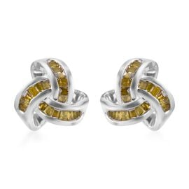 Yellow Diamond Knot Stud Earrings (with Push Back) in Platinum Overlay Sterling Silver 0.25 Ct.