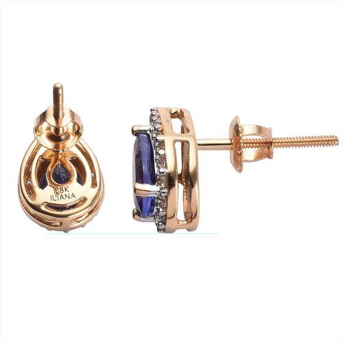 ILIANA 18K Yellow Gold AAA Tanzanite (Pear), Diamond (SI/G-H) Tear Drop Stud Earrings (with Screw Back)