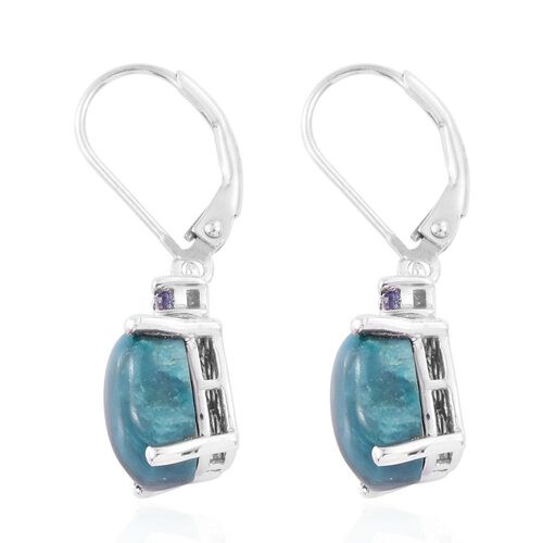Natural Rare Opalina (Cush), Tanzanite Lever Back Earrings in Platinum Overlay Sterling Silver 4.000 Ct.