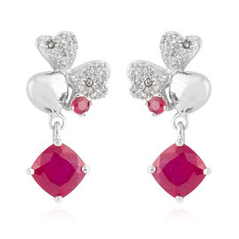 African Ruby (Cush and Rnd ), Natural White Cambodian Zircon Earrings in Rhodium Overlay Sterling Si