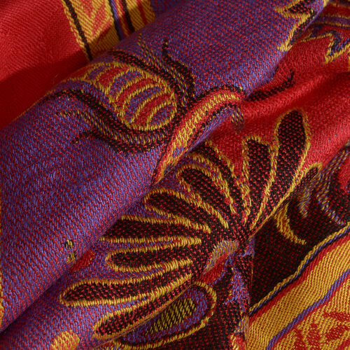 Red, Purple and Multi Colour Floral and Leaves Pattern Scarf with Tassels (Size 190X70 Cm)