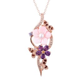 Jardin Collection - Pink Mother of Pearl, Freshwater Pearl and Multi Gemstone Pendant With Chain (Si