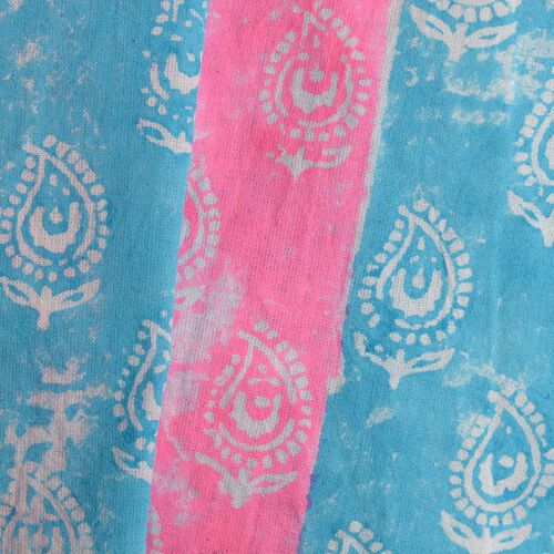 New Season-100% Cotton Blue, Pink and White Colour Hand Block Paisley Printed Kaftan with Tassels (Free Size)