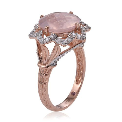 Stefy Checkerboard Cut Rose Quartz (Rnd 7.75 Ct), Natural Cambodian Zircon and Pink Sapphire Ring in Rose Gold Overlay Sterling Silver 8.500 Ct.