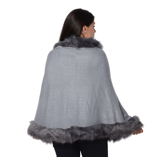 Solid Colour Crystal Blanket Wrap with Faux Fur Trim (Size 56x142+7.6 Cm) - Grey
