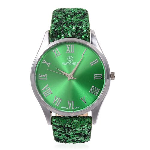 Set of 2- Green Colour Magic Scarf with Silver Threads (Size 170x20 Cm) and STRADA Japanese Movement Water Resistant Watch with Green Colour Sequin Strap.