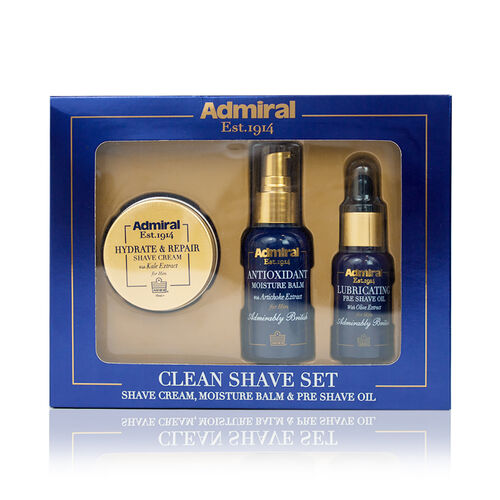 Admiral Clean Shave Set Shaving Cream 50ml, Pre Shave Oil 30ml,  and Moisture Balm 50ml