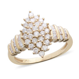 9K Yellow Gold SGL Certified Diamond (Rnd and Bgt) (I3/ G-H) Ring 1.000 Ct.