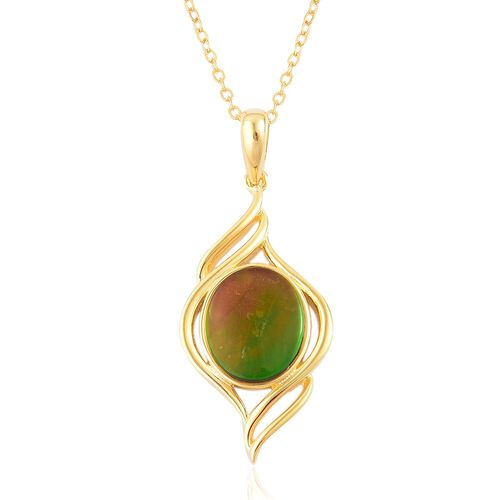 AA Canadian Ammolite (Ovl 11x9mm) Solitaire Pendant With Chain in Yellow Gold Overlay Sterling Silver 2.750 Ct.