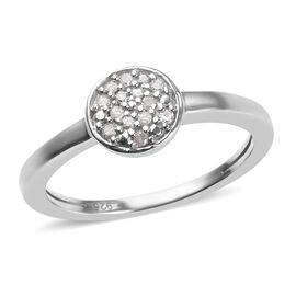 Diamond (Rnd) Ring in Platinum Overlay Sterling Silver 0.06 Ct.