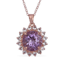 Rose De France Amethyst (Rnd 12 mm), Natural Cambodian White Zircon Pendant With Chain (Size 18) in