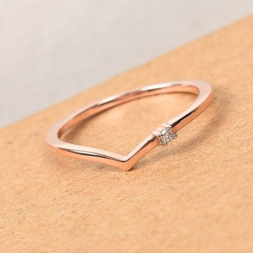 Diamond Wishbone Ring in Rose Gold Overlay Sterling Silver