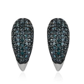 Blue Diamond (Rnd) Earrings (with Push Back) in Platinum Overlay Sterling Silver 0.500 Ct. Number of