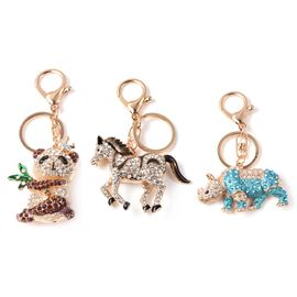 Set of 3 - Multicolour Austrian Crystal Panda, Horse and Rhino Enamelled Keychain in Gold Tone