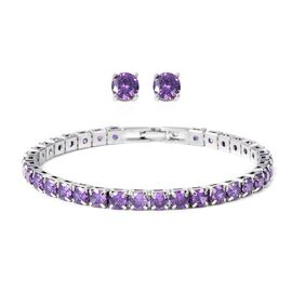 Easter Friday Mega Deal-2 Piece Set - Simulated Amethyst (Rnd) Bracelet (Size 7.50) and Stud Earrings (with Push Back) in Silver Plated
