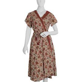 Screen Printed Multi Colour Wrap Dress (Size M/L)