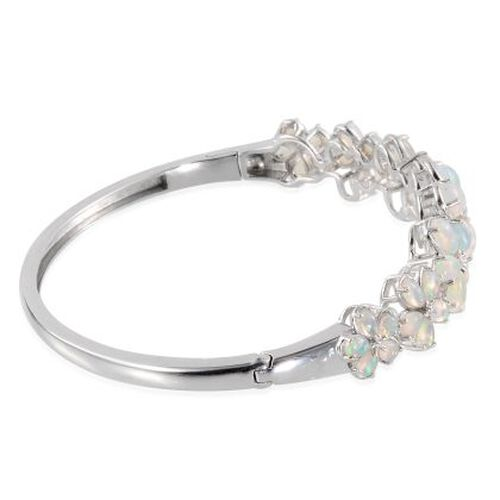 Ethiopian Welo Opal (Pear) Floral Bangle (Size 7.5) in Platinum Overlay Sterling Silver 8.500 Ct.