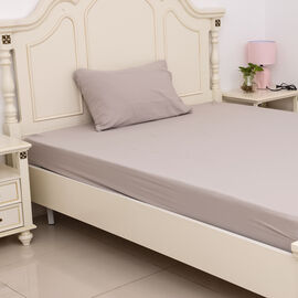 Single Size Sheet Set of 3- Extremely Soft Stone Washed Taupe Colour Fitted Sheet (190x90x30 Cm), Fl