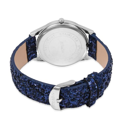 Set of 2- Blue Colour Magic Scarf with Silver Threads (Size 170x20 Cm) and STRADA Japanese Movement Water Resistant Watch with Navy Colour Sequin Strap.