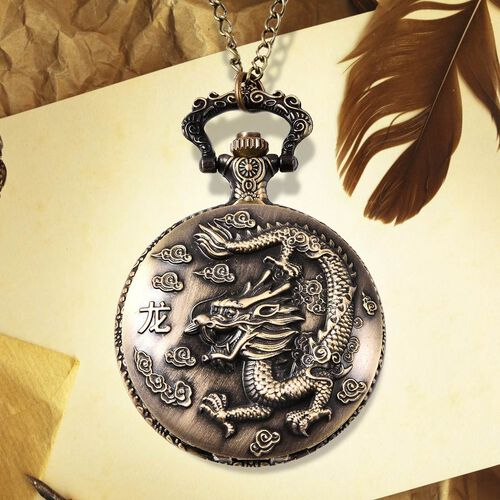 STRADA Japanese Movement Dragon Pattern Pocket Watch with Chain (Size 31) in Antique Bronze Plated