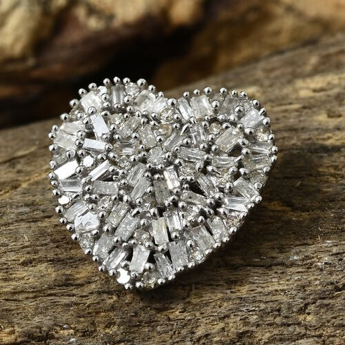 Designer Inspired Diamond (Bgt) Heart Pendant in Platinum Overlay Sterling Silver 0.500 Ct.