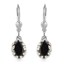 1.50 Ct Elite Shungite Solitaire Drop Earrings with Lever Back in Platinum Plated Silver