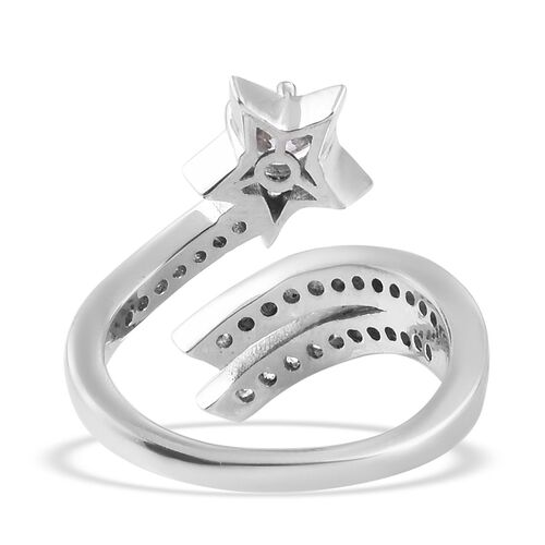 J Francis - Platinum Overlay Sterling Silver Shooting Star Ring Made with SWAROVSKI ZIRCONIA 1.48 Ct.