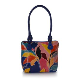 Sukriti 100% Genuine Leather Autumn Leaf Pattern Hand Painted Shoulder Bag (Size 24x7x24 Cm) - Multi
