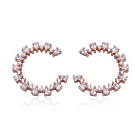 ELANZA AAA Simulated Diamond Earrings (with Screw Back) in Rose Gold Overlay Sterling Silver
