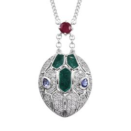 GP Tanzanite (Pear), African Ruby, Natural Cambodian Zircon and Blue Sapphire Snake Head Necklace (S