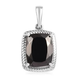 Elite Shungite (Cush) Solitaire Pendant in Platinum Overlay Sterling Silver 2.000 Ct.