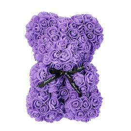 Lovely Rose Flower Bear with Bow Tie - Purple