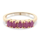 Burmese Ruby and Diamond Ring (Size K) in 14K Gold Overlay Sterling Silver 1.10 Ct.