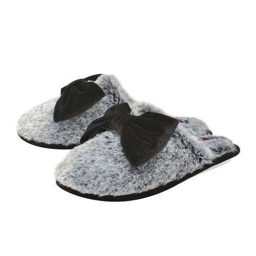 Dunlop Memory Foam Faux Fur Bow Slip On Slippers (Size 3) -Charcoal/Black