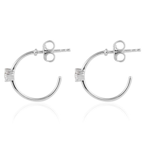 J Francis- 9K White Gold (Rnd) Earrings (with Push Back) Made with SWAROVSKI ZIRCONIA