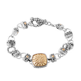 Bali Legacy Collection Sterling Silver and 18K Yellow Gold Bracelet (Size 8), Metal wt 23.00 Gms.