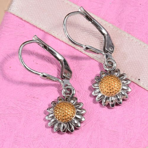 Platinum and Yellow Gold Overlay Sterling Silver Floral Lever Back Earrings