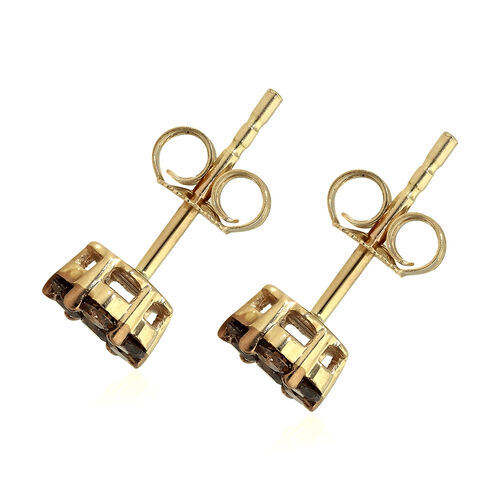 9K Yellow Gold SGL Certified Natural Champagne Diamond (I3) Stud Earrings (wth Push Back) 0.50 Ct.