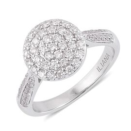 ILIANA 1/2 Carat Diamond IGI Certified SI G-H Cluster Engagement Ring in 18K White Gold