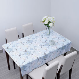 100% Waterproof PVC Table Cloth with Floral Pattern (Size 200x137cm) - Baby Blue