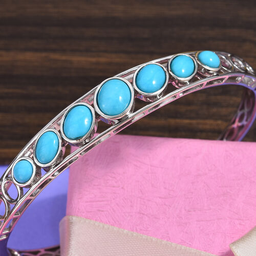 Arizona Sleeping Beauty Turquoise (Ovl, Rnd) Cuff Bangle (Size 7.5) in Platinum Overlay Sterling Silver 5.90 Ct, Silver wt 19.00 Gms