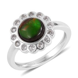 AA Canadian Ammolite (Rnd 7mm), Natural White Cambodian Zircon Ring in Rhodium Plated Sterling Silve
