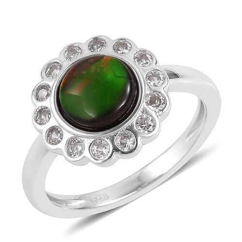 AA Canadian Ammolite (Rnd 7mm), Natural White Cambodian Zircon Ring in Rhodium Plated Sterling Silver 1.650 Ct.