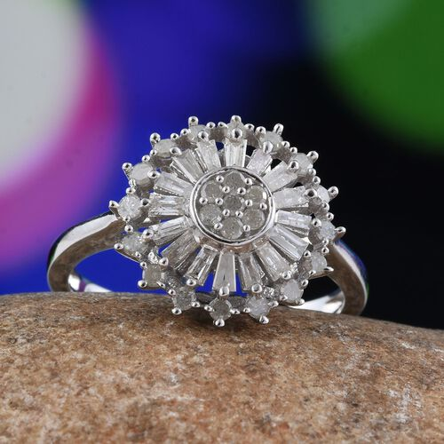 Diamond (Rnd) Floral Ring in Platinum Overlay Sterling Silver 0.750 Ct.