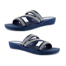 Ella Grace Diamante Slip on Sandals in Navy Colour