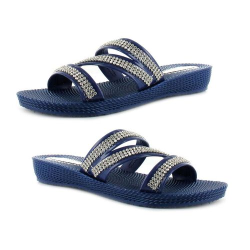 Ella Grace Diamante Slip on Sandals (Size 5) - Navy